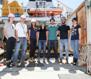 team photo on research vessel